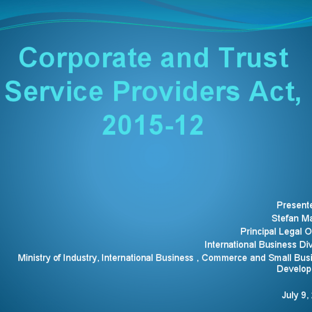 Corporate and Trust Service Providers Act, 2015-12